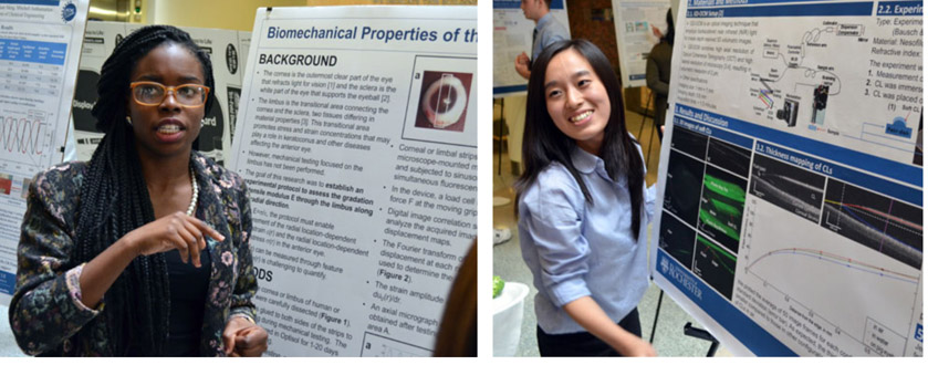 Two students at a poster session.