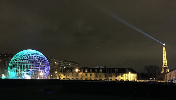 photo of UNESCO's Earth Sphere and the Eiffel Tower, by X.-C. Zhang, 1/19/15