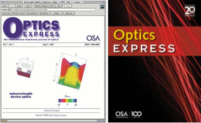 Then and Now: At left, what Optics Express looked like when a reader linked to the first issue via Netscape. At right: A recent cover of Optics Express