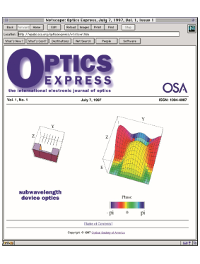 The first issue of Optics Express as seen in Netscape in 1997