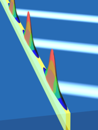 Depiction of slow light waves in a material