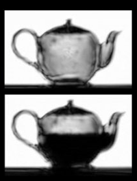 A view inside a teapot, empty and half-full