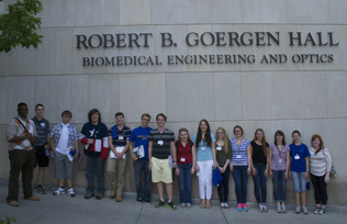 Participants in front of Goergen Hall