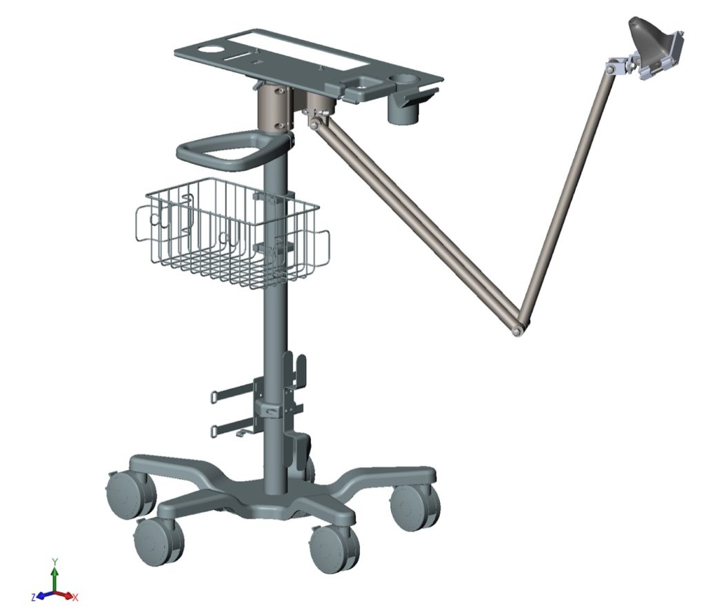 CAD rendering of Sonavex, Inc. ultrasound cart with ultrasound probe stabilizer.
